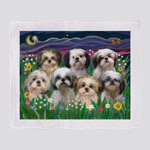 7 Shih Tzus in Moonlight Throw Blanket